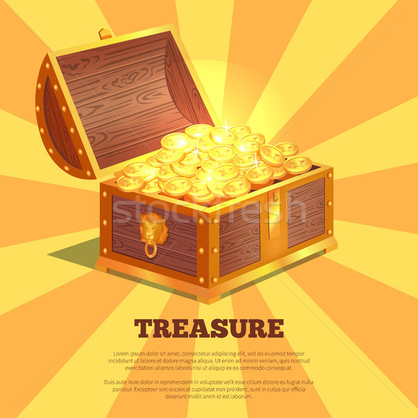 600x600 Treasure Bright Wooden Box Vector Illustration Vector Illustration