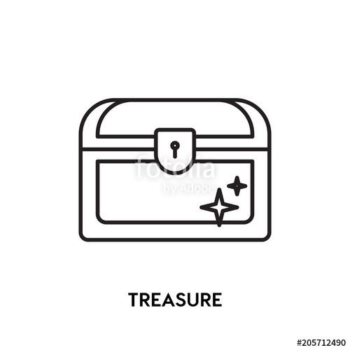 500x500 Treasure Vector Icon, Rich Symbol. Modern, Simple Flat Vector