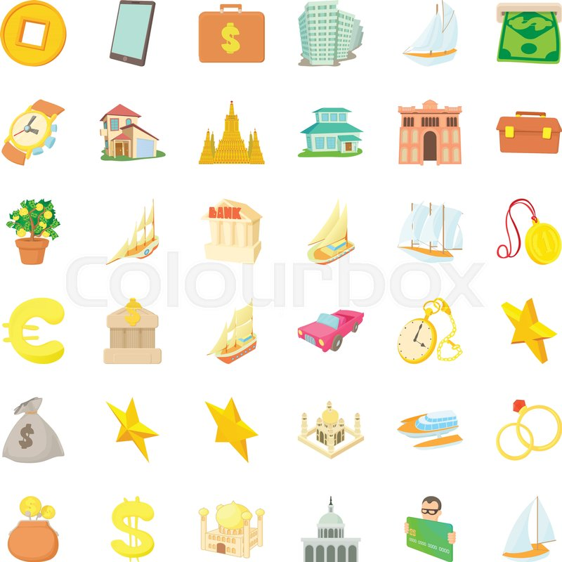 800x800 Treasure Icons Set. Cartoon Style Of 36 Treasure Vector Icons For