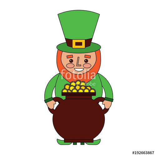 500x500 St Patrick Leprechaun Holding Pot Full Coins Treasure Vector