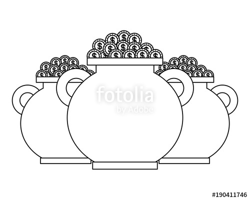 500x400 Three Pot Full Coins Treasure Vector Illustration Outline Design