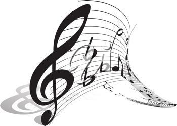 350x249 Picture Of A Treble Clef Piece Of Music With An Abstract Staff In