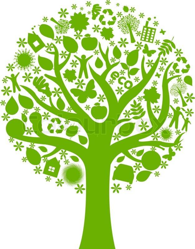 626x800 Eco Tree, Isolated On White Background, Vector Illustration