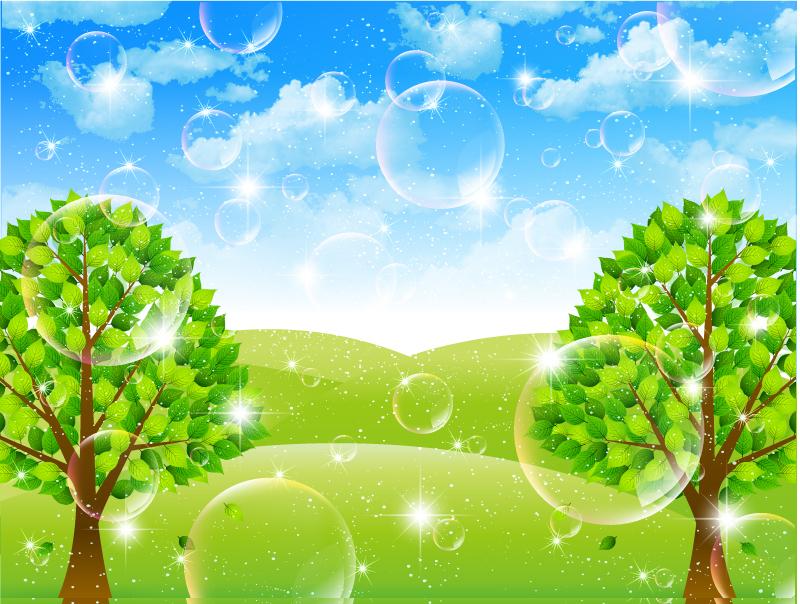800x604 Fantasy Bubbles Tree Background Vector Free Vector Graphic Download