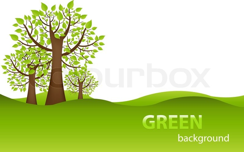 800x499 Green Background With Trees And Earth, Isolated On White