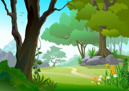 425x300 Green Landscape Trees Background Vector Free Vector In
