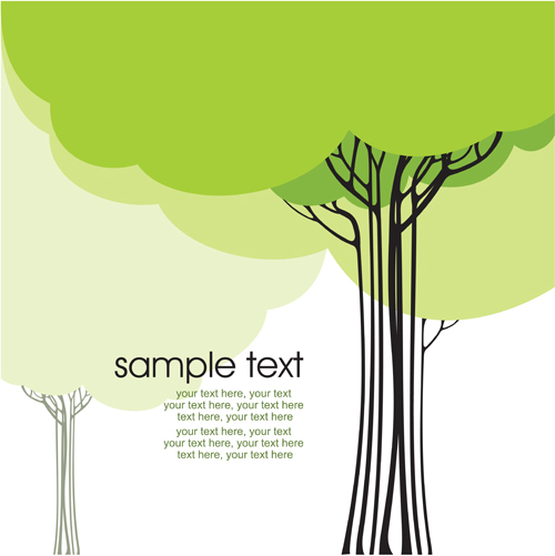 500x501 Set Of Card With Trees Background Vector 01 Free Download