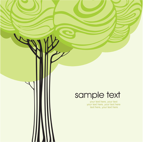 500x499 Set Of Card With Trees Background Vector 02 Free Download