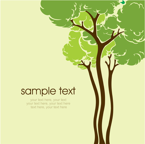 500x494 Set Of Card With Trees Background Vector 03 Free Download