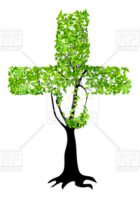 284x400 Abstract Christian Cross As Tree Isolated On A White Background