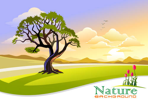 500x354 Tree And Natural Scenery Vector Background 02 Free Download