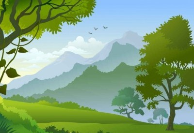 400x275 Vector Forest Landscape Trees Background Vector Art