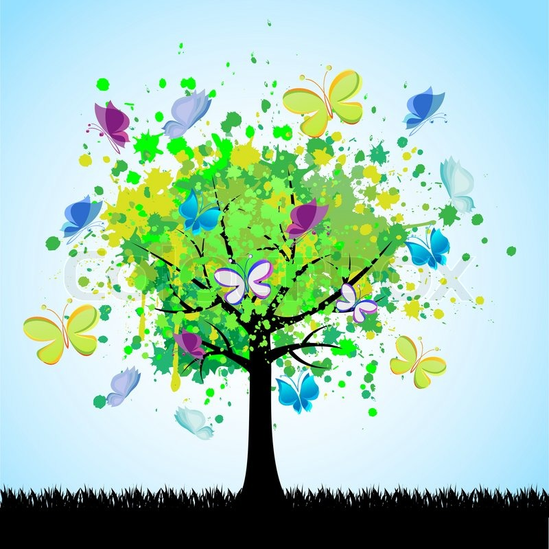 800x799 Abstract Colorful Tree And Butterfly. Vector Background. Stock