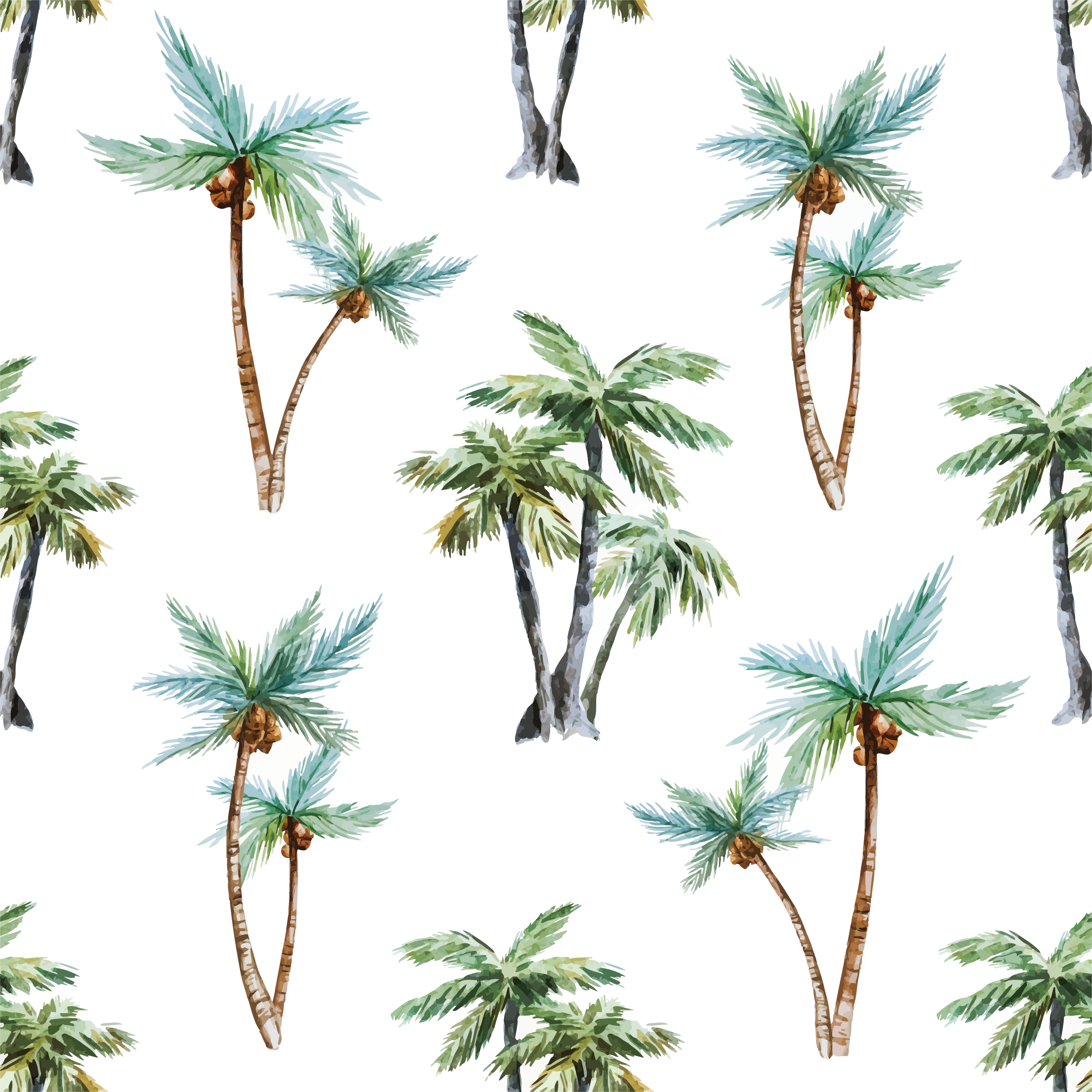 2469x2469 Arecaceae Watercolor Painting Tree Euclidean Vector