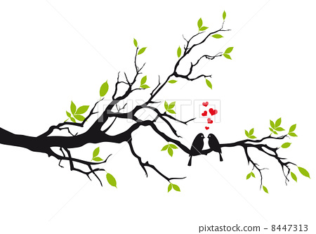 450x333 Love Birds With Red Hearts Sitting On Spring Tree Branch, Vector