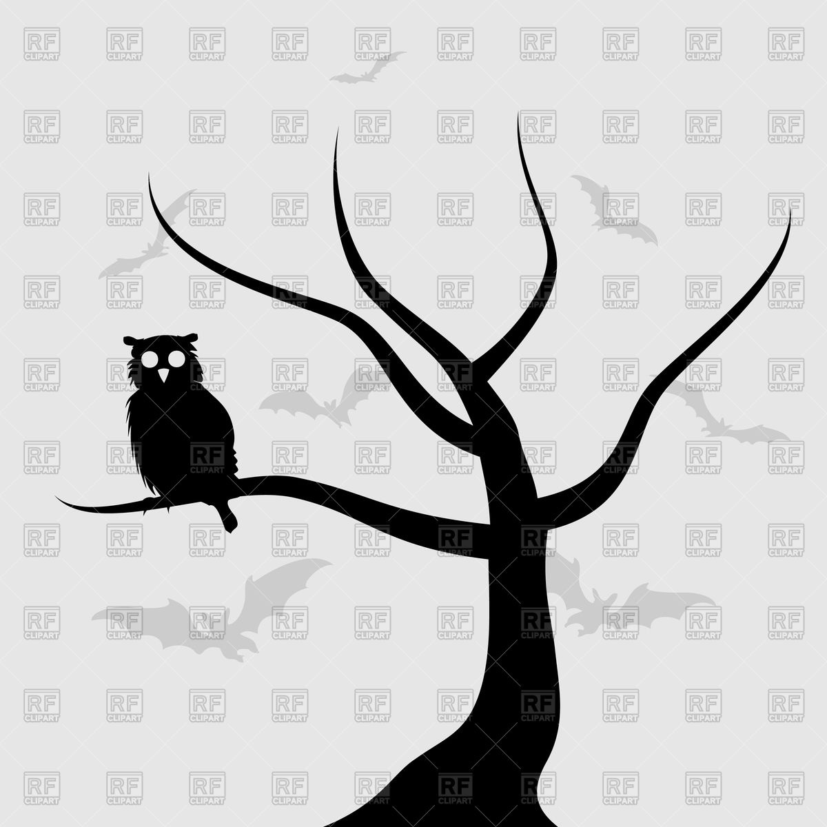 1200x1200 Owl Sits On Tree Branch Vector Image Vector Artwork Of Plants