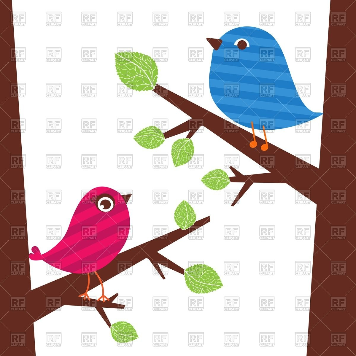 1200x1200 Couple Of Cute Birds Sitting On The Tree Branch Vector Image