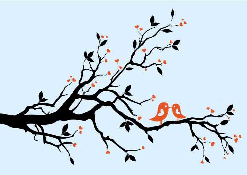 842x596 A Pair Of Birds On Branches Vector Free Vector 4vector