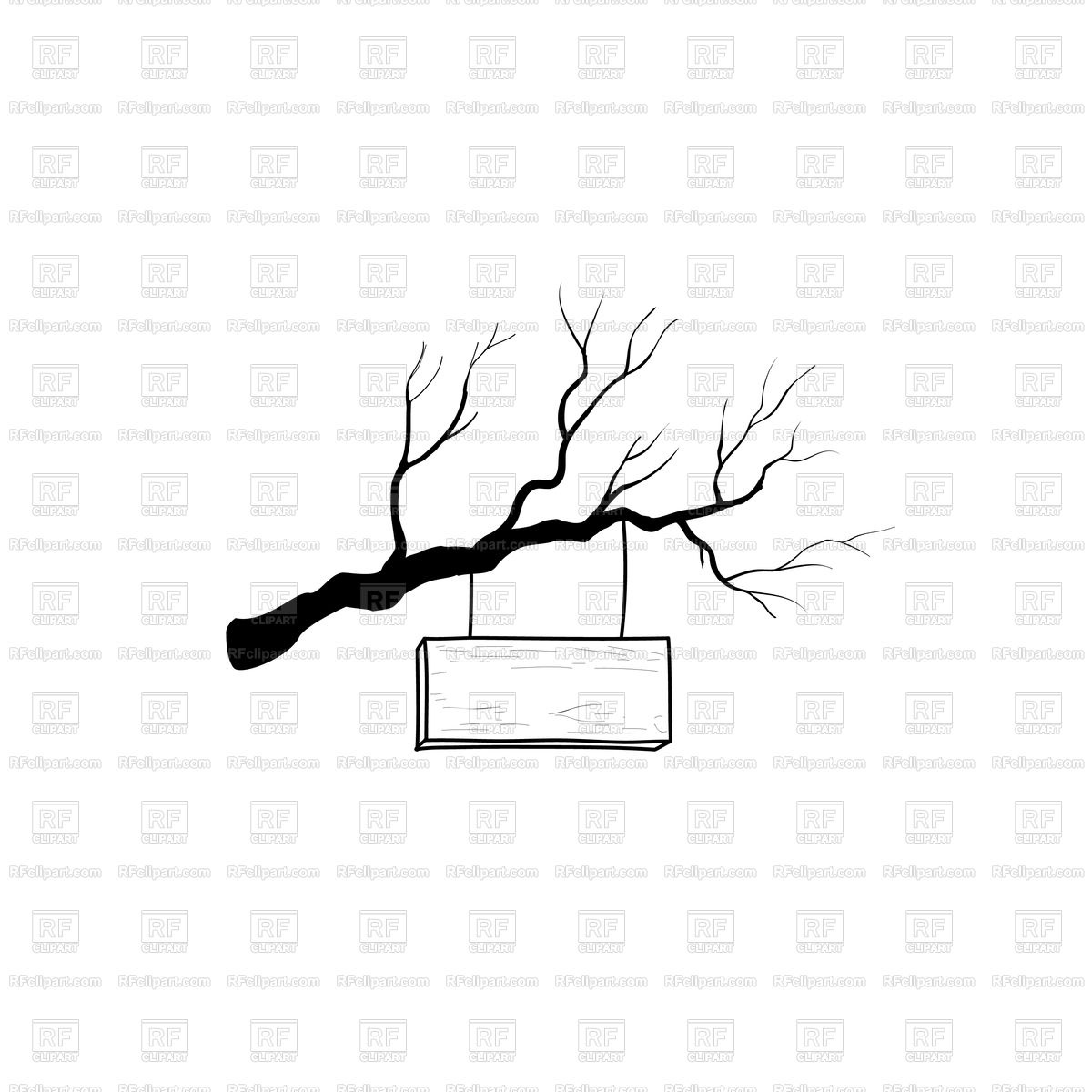 1200x1200 Wooden Road Sign On Tree Branch Vector Image Vector Artwork Of