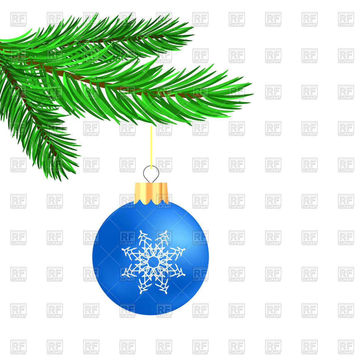 1200x1200 Blue Glass Ball On Christmas Tree Branch Vector Image Vector