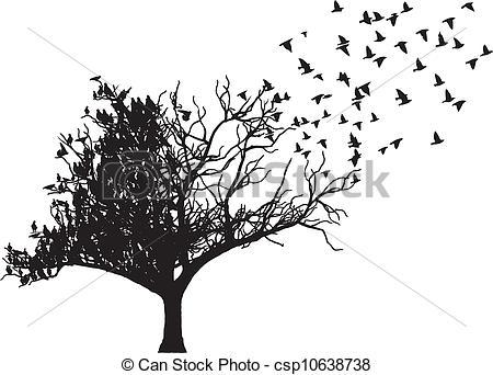 450x342 Tree Bird Art Vector. Tree With Fly Bird Art Vector.