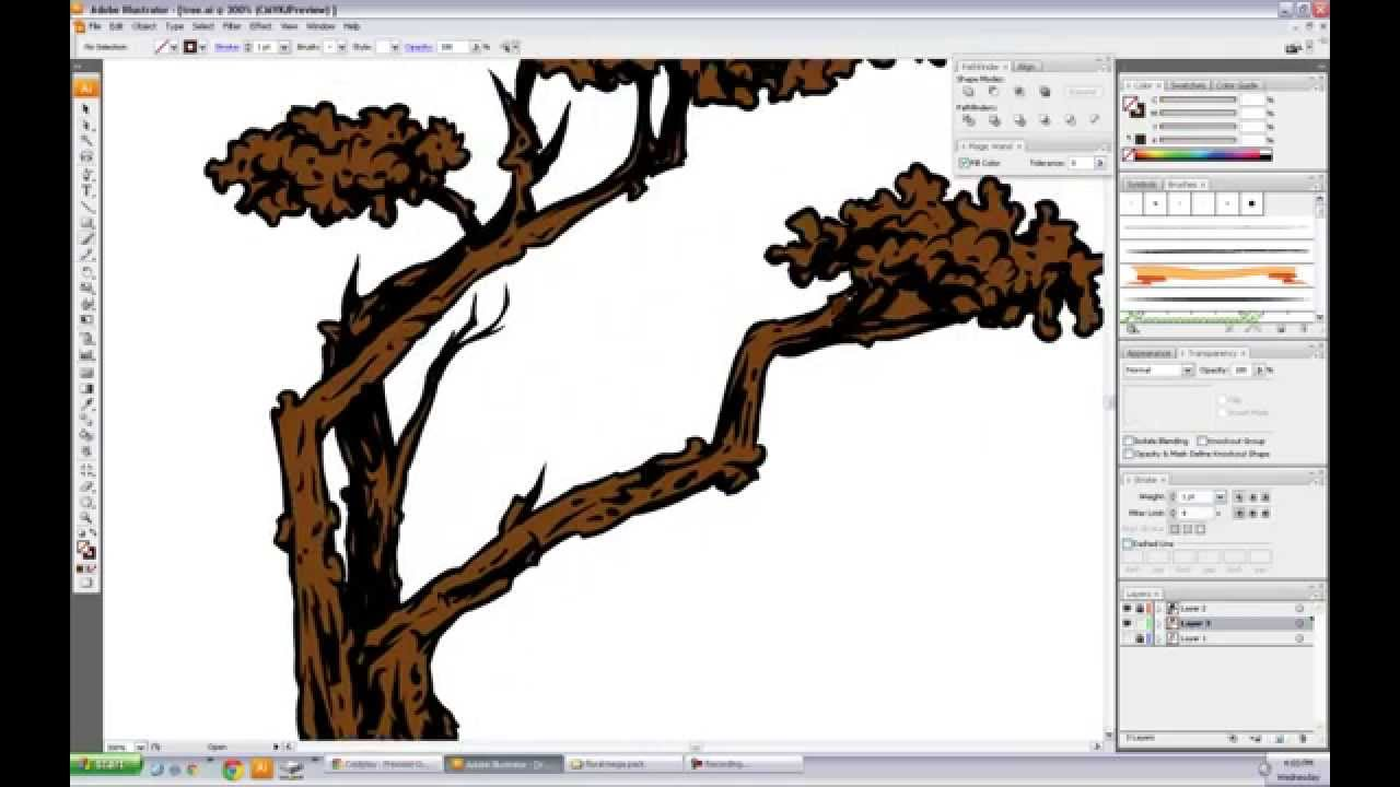 1280x720 Vector Tree Free Hand Speed Drawing