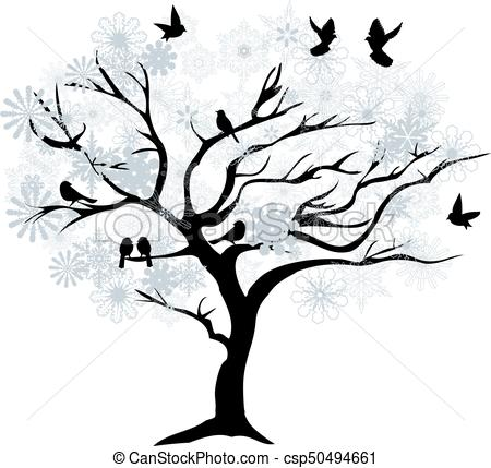 450x429 Vector Winter Tree With Snowflakes.