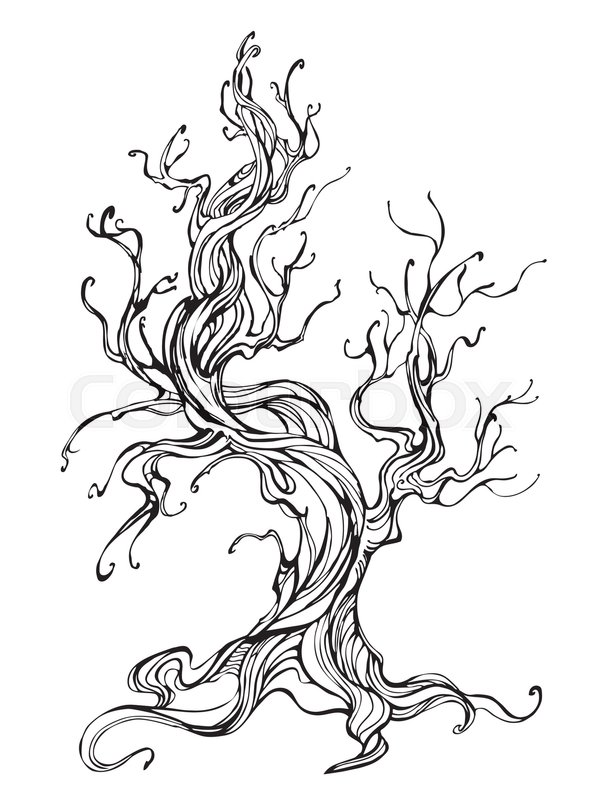 594x800 Artistically Drawn Old Tree Outline On A White Background. Tattoo
