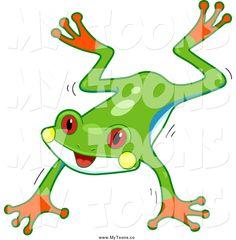 236x240 Cartoon Of A Cute Tree Frog Looking Around A Corner
