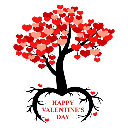 500x500 Hearts Tree With Valentines Day Vector Free Download