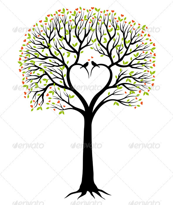 590x700 Love Tree With Heart And Birds, Vector By Amourfou Graphicriver