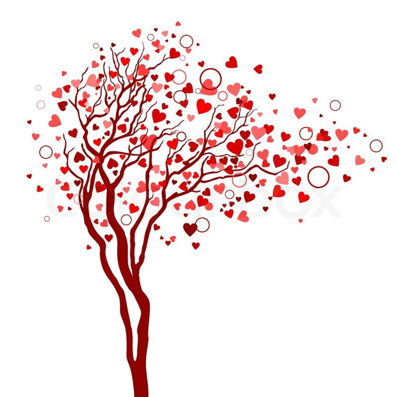 800x800 Love Tree With Heart Leaves Stock Vector Colourbox