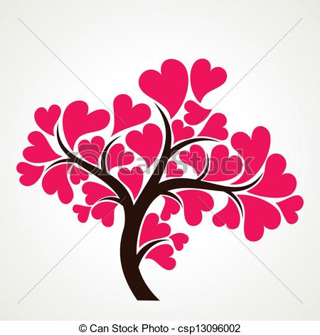 450x470 Lover Tree With Pink Heart Shape Leaf Stock Vector.