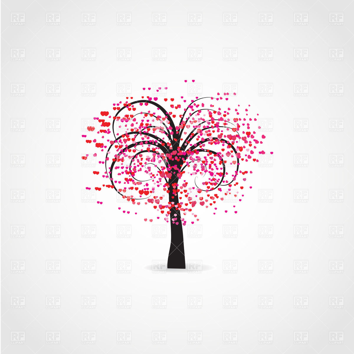 1200x1200 Stylized Vector Tree Covered With Heart Shaped Flowers Vector
