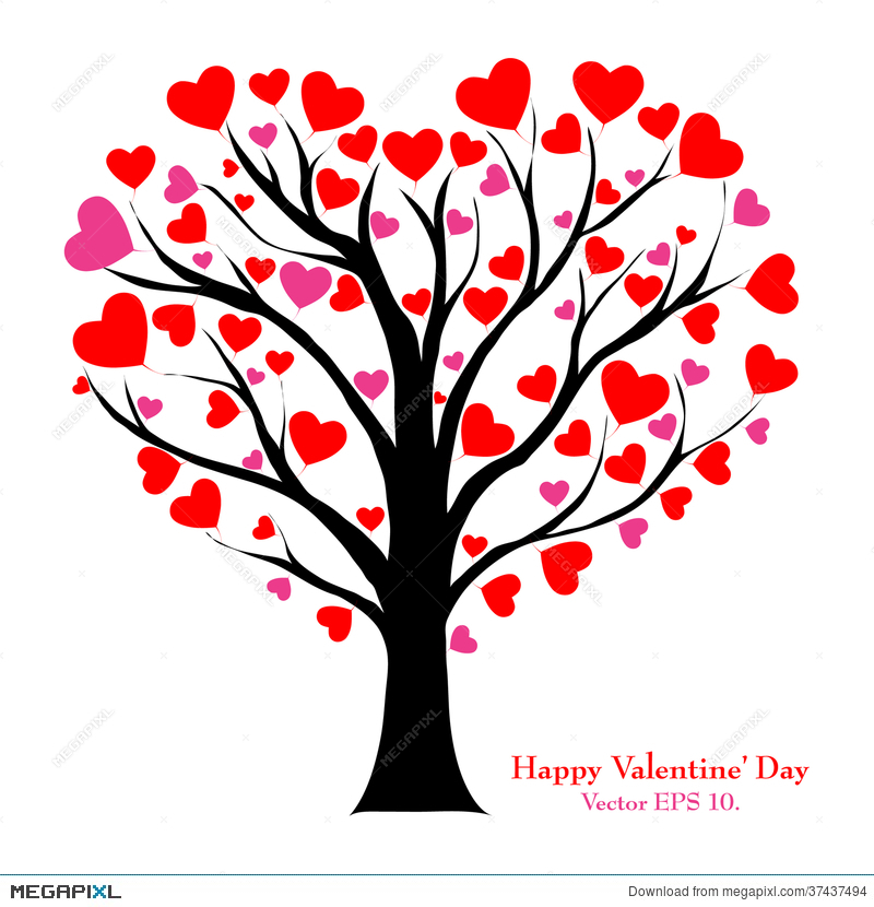 800x830 Valentine Tree With Love Heart, Vector Illustratio Illustration