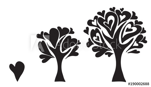 500x289 Vector Abstract Tree Growing Up, Tree Heart Shapes.