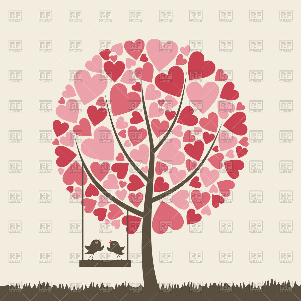 1200x1200 Decorative Heart Tree With Lovebirds Vector Image Vector Artwork