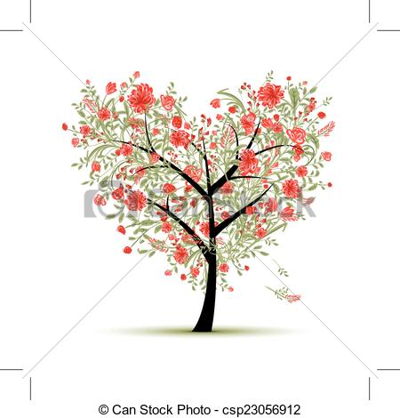 450x470 Floral Love Tree For Your Design, Heart Shape, Vector Illustration.