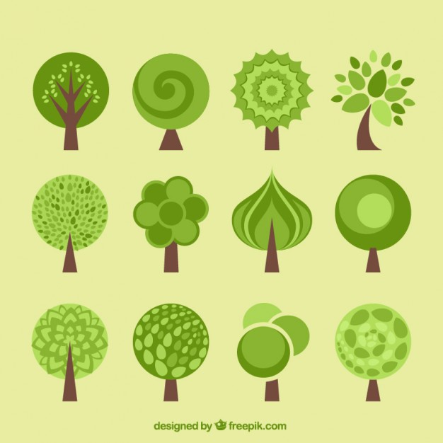 626x626 Tree Icons Collection In Flat Design Style Vector Premium Download