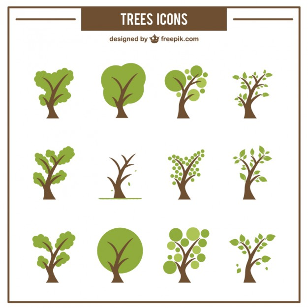 626x626 Collection Of Green Tree Icons Vector Free Download
