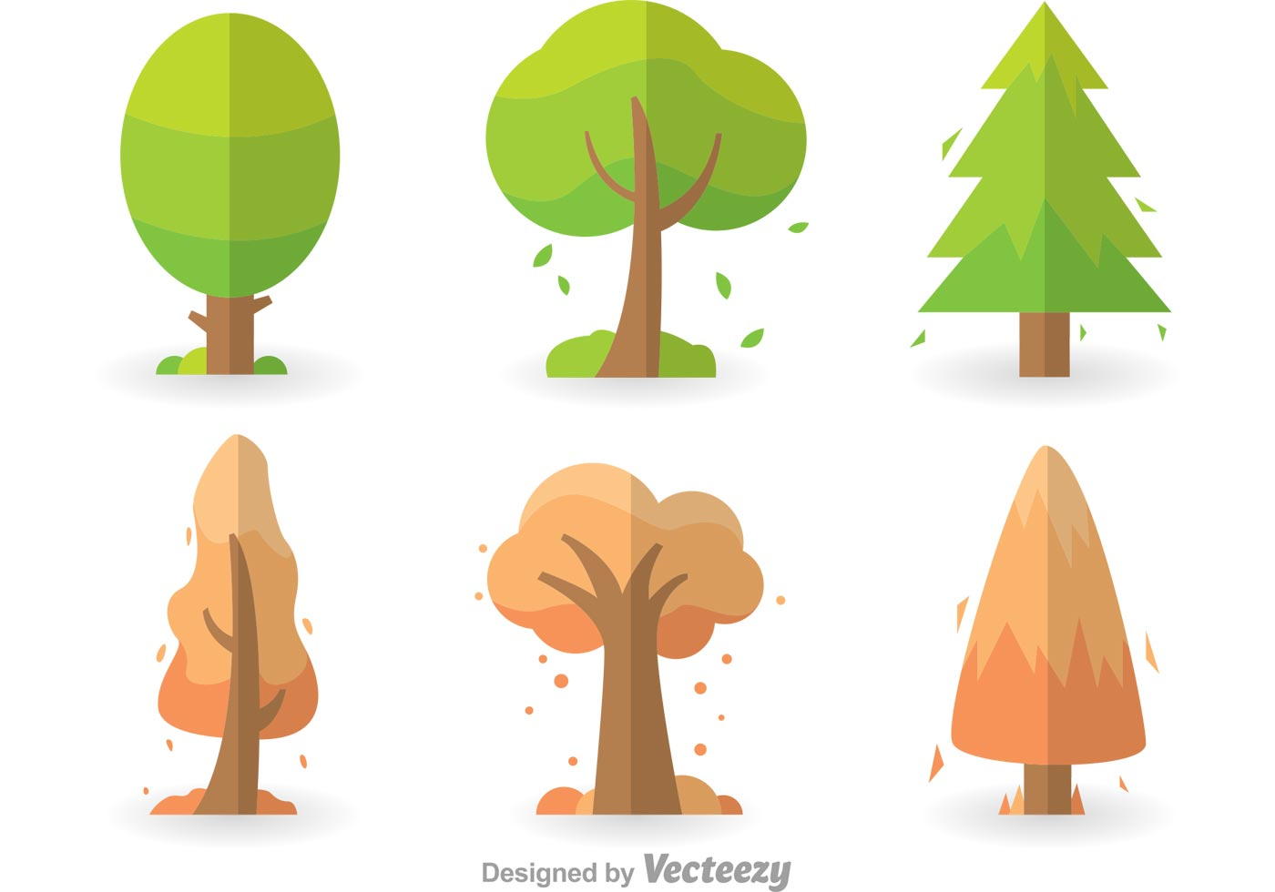 1400x980 Colorful Tree Icons Set