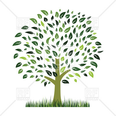 400x400 Green Grass And Tree With Leaves Vector Image Vector Artwork Of