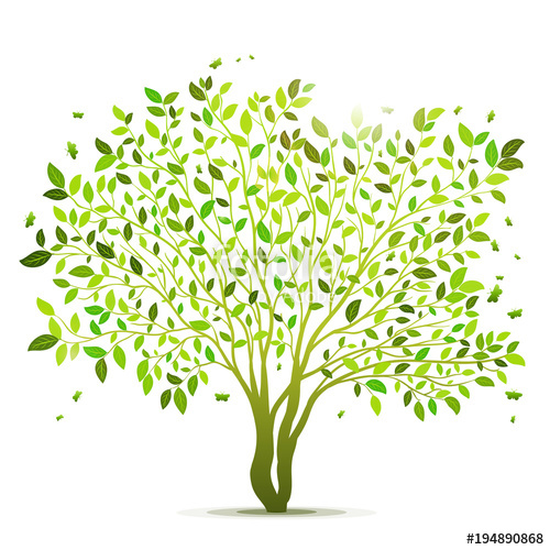 500x500 Green Tree With Leaves Vector Background Stock Image And Royalty