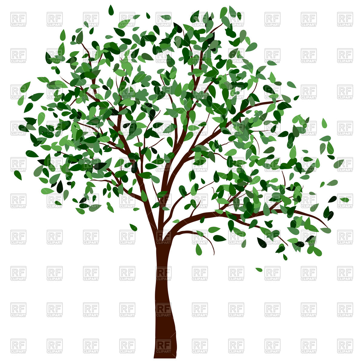 1200x1200 Summer Tree With Green Leaves Vector Image Vector Artwork Of