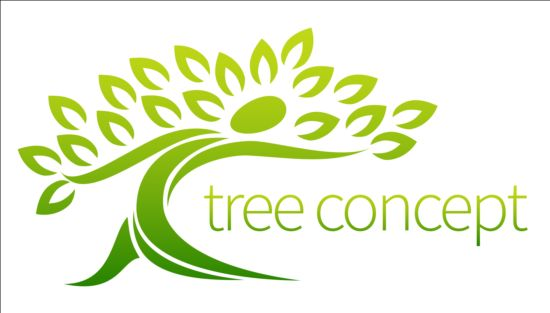 550x313 Green Tree Logos Vector Graphic 04 Free Download