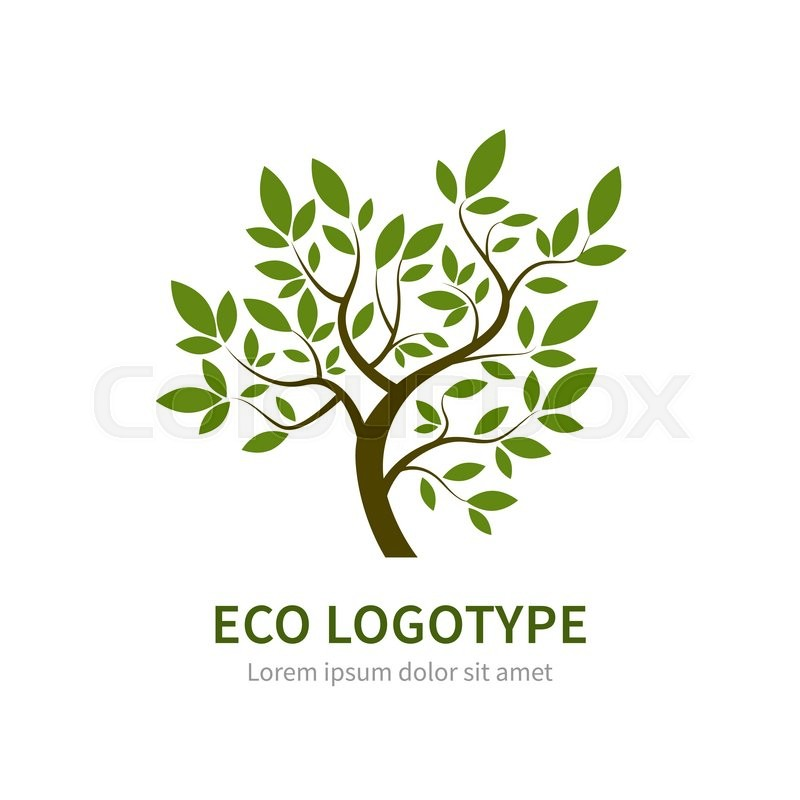 800x800 Stylized Vector Simple Tree Logo. Vector Tree Logotype For