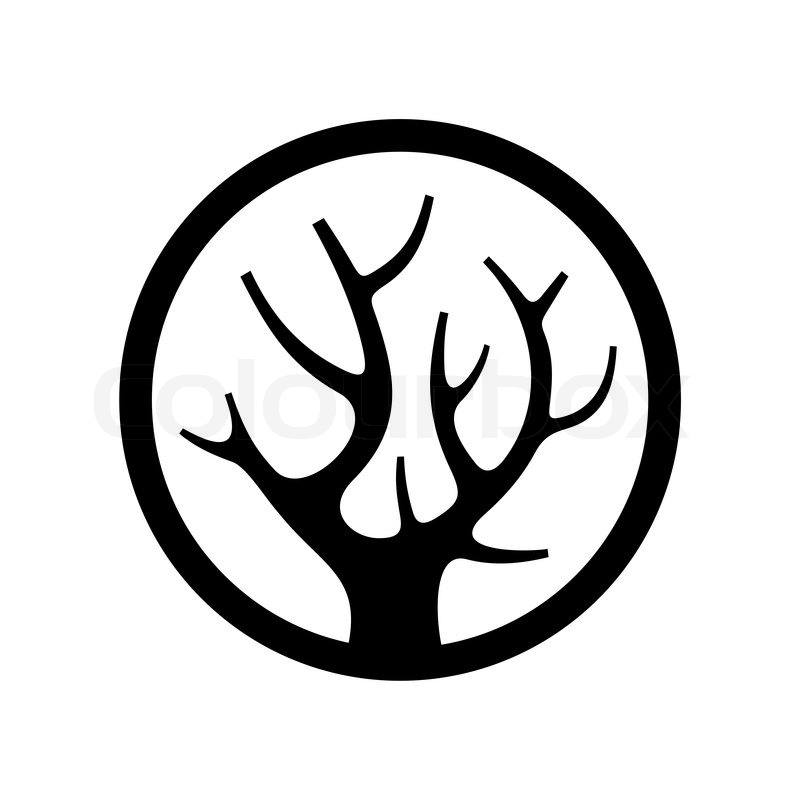 800x800 Decorative Simple Tree Logo In The Circle. Vector Illustration