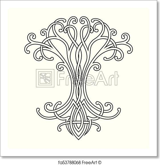 561x581 Free Art Print Of Celtic Tree Of Life. Vector Celtic National