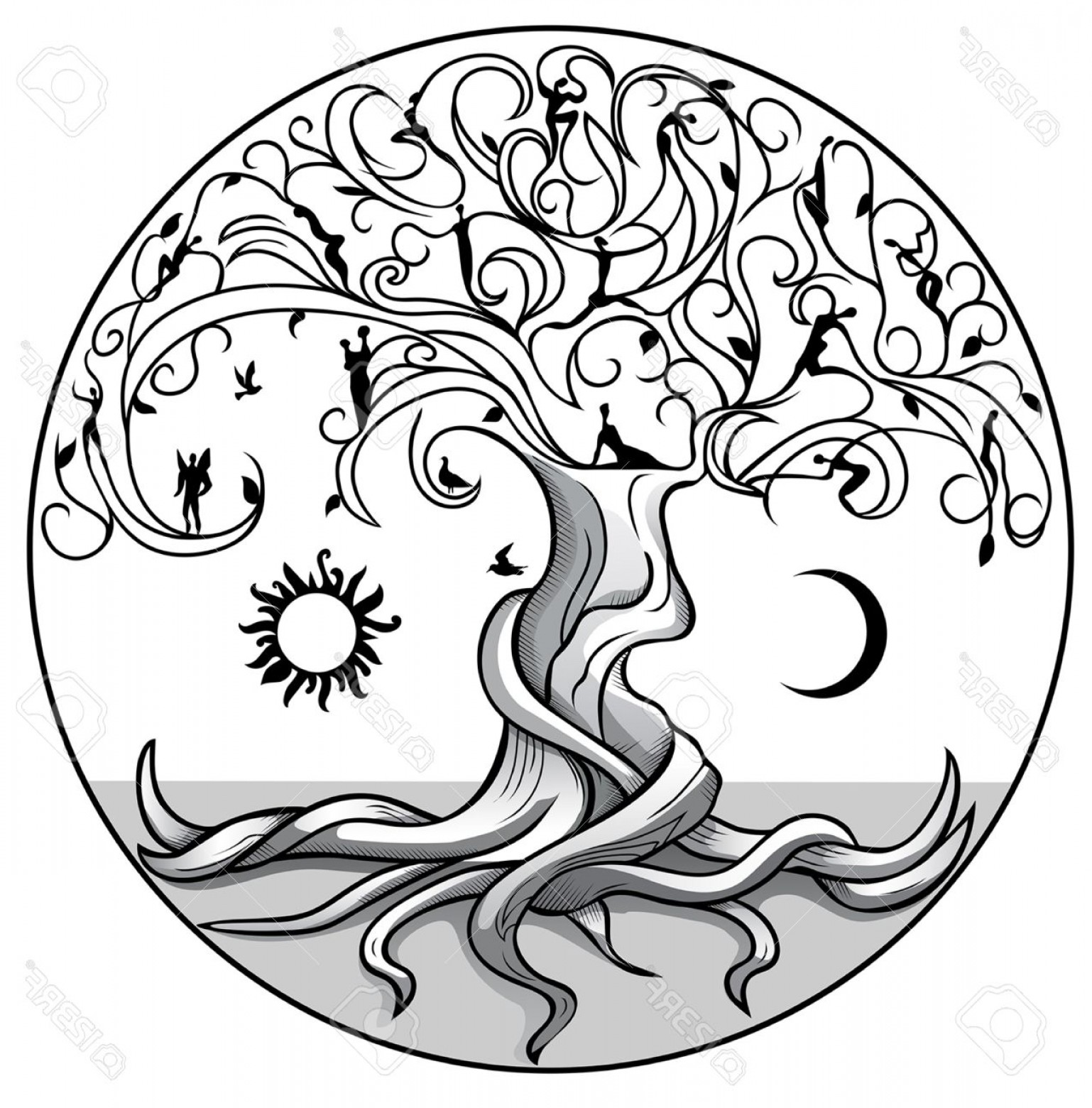 1538x1560 Photostock Vector Tree Of Life With Sun And Moon On White