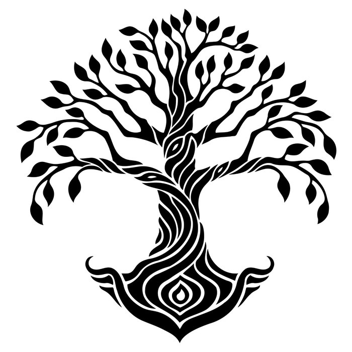 700x700 Vector Illustration, Decorative Tree Of Life, Black And White